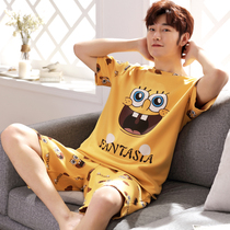 Mens pajamas summer cotton short-sleeved cartoon youth mens summer thin cotton home service student suit