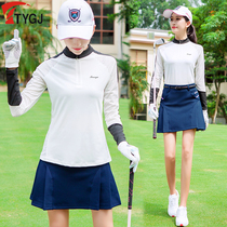 Golf clothing Spring Sunscreen dress womens quick-drying mesh long-sleeved ball clothes T-shirt shorts skirt Set