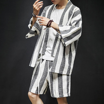 Chinese style summer suit male short-sleeved T-shirt trend hanfu cardigan large yards robe antique mens national clothing