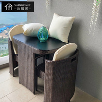 Balcony small table and Chair Home Outdoor rattan chair coffee table combination simple leisure outdoor tea table rattan chair three-piece set