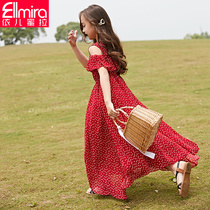 Girls dress childrens skirt long skirt Strapless Chiffon Red 2019 New childrens beach skirt summer dress
