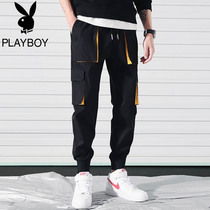 Playboy autumn overalls mens Tide brand autumn trousers long pants casual pants Korean version of the trend of sports pants