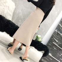 2018 autumn Winter new skirt women ins super fire skirt A word knitted buttocks skirt Korean edition students high Waist umbrella skirt
