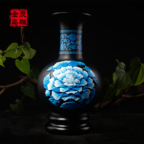 Jinwu charcoal carving rich hibiscus ball bottle charcoal carving home entrance living room TV cabinet decoration vase crafts