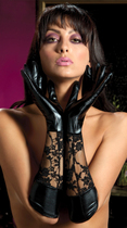 Wonderful lacquer leather texture stitching charming lace gloves hundred sexy lingerie queen uniform stockings AL23