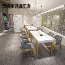 Ying Hai West restaurant tables and chairs simple modern hotel theme restaurant marble dining table and chair combination table four chairs