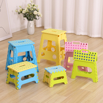 Ying Xin folding plastic stool portable portable small bench children outdoor Maza household adult anti-skid stool
