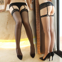Sexy lingerie garter female black stockings show open file lace long tube perspective passion set blood dripping son