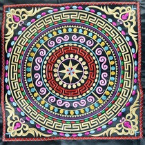 Guangxi Zhuang ethnic bronze drum pattern embroidery piece DIY feature national package clothing accessories embroidered fabric