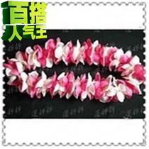 Hawaiian hula costume-Garland pure e handicrafts large flower pieces rose red white mixed