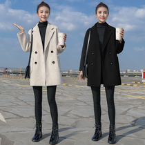 Woolen coat women in the long section of the small 2019 autumn and Winter new Korean version college wind thicken woolen coat female