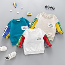 Korean version of the jacket clothes mens treasure round collar T-shirt spring 1-3 years old children tide round collar cotton bottom shirt 0 12 years old and a half years old