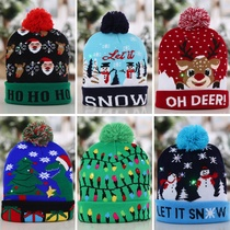 Winter hat wool adults with ball flips with people light cap wool ball supplies Christmas knit children Christmas le.
