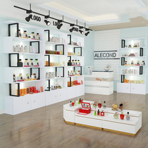 Showcase showcase cosmetics boutique modern pure white showcase beauty shop background beauty salon