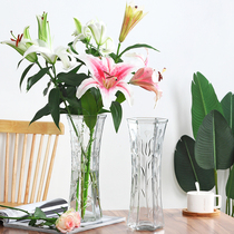 Creative large transparent hexagonal glass vase water rich bamboo lily flower vase home living room decoration