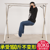 Stainless steel racks floor folding balcony indoor bedroom double pole cool clothes drying rack simple drying racks