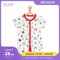 Childrens clothing summer climbing clothes 6 months cotton short-sleeved romper infant clothes 3-year-old male and female baby conjoined clothes