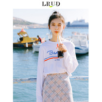 LRUD white T-shirt female 2018 autumn new Korean version of the long-sleeved shirt loose students casual take the shirt