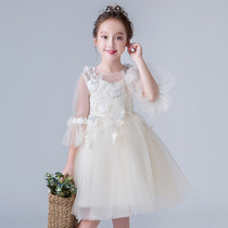 2018 autumn new flower girl dress Pompon girl long sleeve princess dress piano performance birthday performance clothing