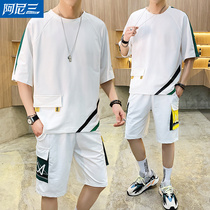 Sports casual mens suit T-shirt tide brand short sleeves 2020 summer new trend teen student set with a match
