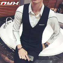 2019 Spring New Black Vest male Korean version of the trend of handsome suit vest night scene Young Master clothes vest jacket