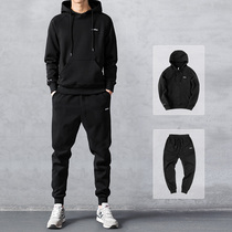 Sweater suit winter mens 2019 new autumn and winter hooded sportswear leisure tide ins plus cashmere thick coat
