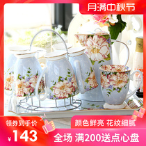 Cup cup household set ceramic living room cup tray water with European Light Luxury Cup bone china kettle gift box