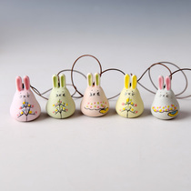 Warm harbor ceramic wind chimes car hand-painted good rabbit pendant car wind chimes ornaments creative wind chimes Japanese style