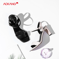 (Store delivery) aokang shoes 2019 summer new fashion word with Square sandals high heels female