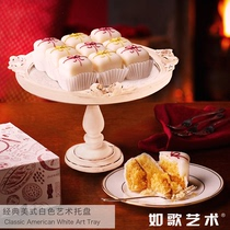 Rs European high-foot mirror tray American carved wedding round cake stand white retro baked dessert display plate