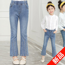 Girls denim pants 2019 spring and autumn ten-year-old girl 7 large children 8 autumn Bell pants 6 children's pants