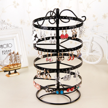 Wrought iron four-tier rotating jewelry rack jewelry rack pendulum earrings earrings earrings storage display shelf creative