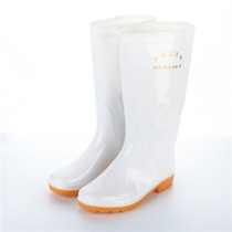 Men and women in the tube high tube thick white food Rain Boots health rain boots non-slip water shoes water boots acid oil rubber shoes