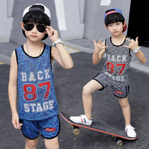 Boys vest suit large Children Summer childrens quick-drying clothes little boy sleeveless shorts two-piece thin section tide