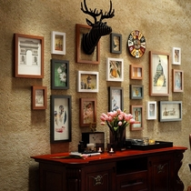 American photo wall living room retro decorative background photo one wall creative deer head restaurant wall hanging combination photo frame