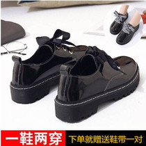 Single Shoes female Korean version 2018 new Inverness College wind students with flat bottom velvet small leather shoes thick bottom Lok Fu shoes