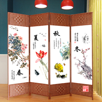 Screen partition living room simple modern simple screen folding folding screen mobile office Chinese fabric straw