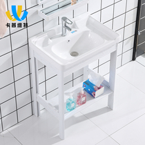 Floor-standing wash basin small apartment space aluminum household washbasin cabinet combination balcony one column Basin bathroom
