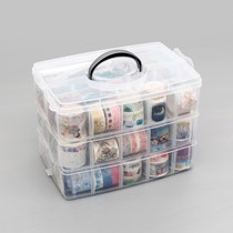 Multi-functional transparent stationery storage box and paper tape plastic storage box account desktop tool finishing box
