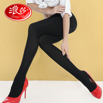 4 langsha pantyhose female spring and autumn thick stockings anti-hook velvet backing socks black thin legs socks