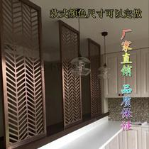 Stainless steel screen partition hollow living room modern hotel club KTV metal carved folding screen custom