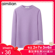 Amy Love half-height round neck shirt women autumn and winter New thick warm shirt slim wild long-sleeved T-shirt