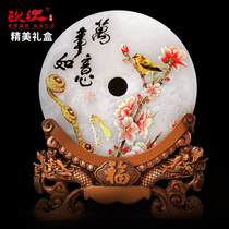 Lucky ping buckle living room wine cabinet decorations business Custom new Chinese jade ornaments office lucky gifts