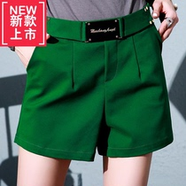 Retro European Station 2019 spring and summer new belt decorative casual pants children shorts high waist wide leg pants 6187