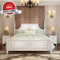 American solid wood bed White 1 5 M double bed 1 8 simple modern pastoral high box storage bed