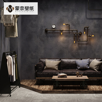 Retro Retro Pure Color cement industrial wind black gray wallpaper hotel restaurant bar clothing store wallpaper