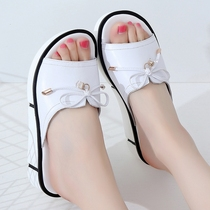 2019 new summer thick bottom wear large size slippers female 41-43 flat fat foot leather muffin bottom sandals