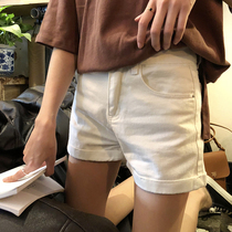 Hong Kong white denim shorts female summer new pants fat mm large size high waist elastic loose wide leg hot pants 200 pounds