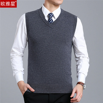 New mens vest V-neck sweater with wool middle-aged father autumn vest in the elderly sleeveless sweater