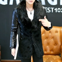 Mens long section plus cashmere leather non-mainstream personality fur collar thickened fur coat fur coat